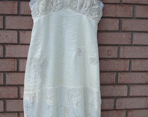 Size Medium, Upcycled Slip Dress, Beach Wedding, Vintage, Shabby Chic, Tattered, Crocheted Bridal, Boho, Romantic, Gypsy, Altered Couture