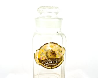 Glass Candy Jar Label Large Glass Jar with Lid Cut Glass Candy Jar Apothecary Made in Holland