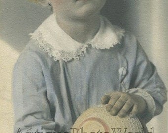 Girl w ball toy antique hand tinted photo by A. Mellin