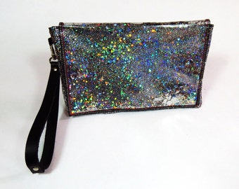 Holographic Clutch Bag Black and Silver Bag Holographic Bag Glitter Clutch