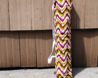 Yoga Mat Tote Bag Chevron Pink Green Cotton Twill