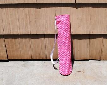 Yoga Mat Tote Bag Pink Skull Crossbones Cotton Twill