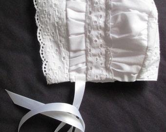Baby Girl White Eyelet Vintage Style Christening/Baptism Bonnet /SunHat