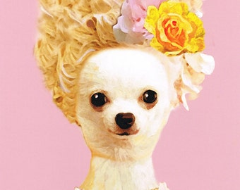 Animal painting portrait painting Giclee Print Acrylic Painting Illustration Print wall art decor Wall Hanging: Marie-Antoinette Chihuahua