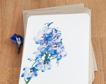 Personalized Stationery Set - Light Blue Delphinium - Stationary Set Gift for Her