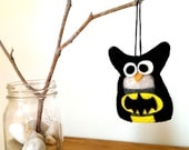 Batman Owl Ornament / Felt Christmas Ornament / Owl Decor / Plush Owl / Superhero Party Decor