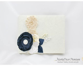 Wedding Lace Guest Book Pen Set Birthday Book Custom Bridal Flower Brooch Guest Books in Ivory, White, Cream and Navy