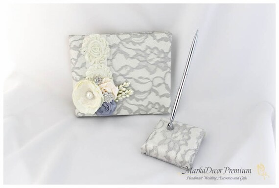 Wedding Lace Guest Book Pen Holder Set Birthday Book Custom Bridal Flower Brooch Guest Books in Ivory and Silver Gray