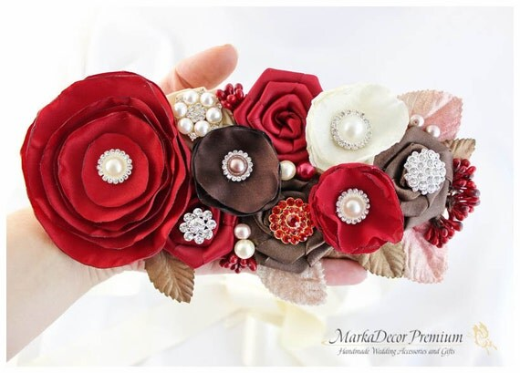Bridal Sash / Custom Wedding Bridesmaids Belt in Red Brick, Brown and Ivory with Brooches, Beads, Pearls, Crystals, Jewels, Handmade Flowers