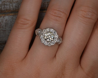 Heart-Shaped Art Deco-Inspired Diamond Ring (18K White Gold)