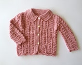 Girl cotton knit cardigan sweater. Hand Knitted. pale rose. Size 24 months.