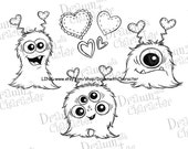 Valentine's Fuzzy Monsters Digital Stamp Art/ KopyKake Image