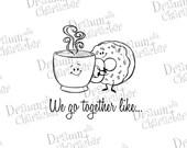 We Go Together Like Coffee and Donuts Digital Stamp Art/ KopyKake Image