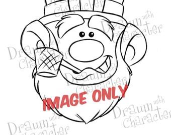 Leprechaun with Pipe/ Digital Stamp Art/ KopyKake Image-  SP57-LEP