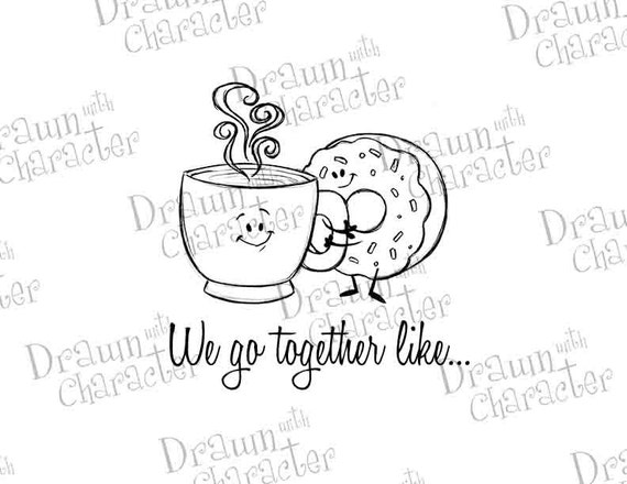 We Go Together Like Coffee and Donuts Digital Stamp Art/ KopyKake Image