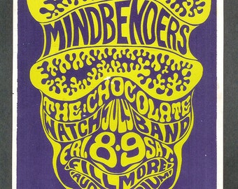 Original Mindbenders Concert Postcard BG 016 Fillmore 1966 Vintage Bill Graham Wes Wilson Psychedelic San Francisco Hippies Collectibles