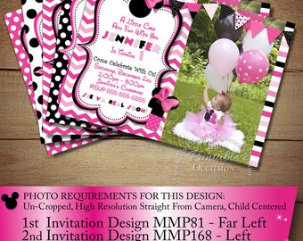 HUGE SELECTION Minnie Mouse Invitation, Pink Chevron Birthday Minnie Invitation, Zebra Minnie mouse, Minnie Mouse Birthday, Photo Invitation