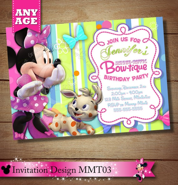 Minnie Mouse Bowtique Invitation Minnie Mouse Bowtique
