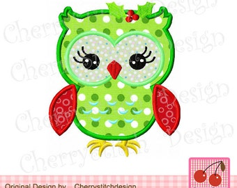 Christmas Owl Machine Embroidery Applique -for 4x4 5x5 6x6""