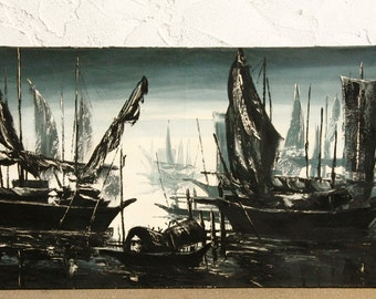 Dramatic Mid-Century Painting: Junks On Mekong  1968