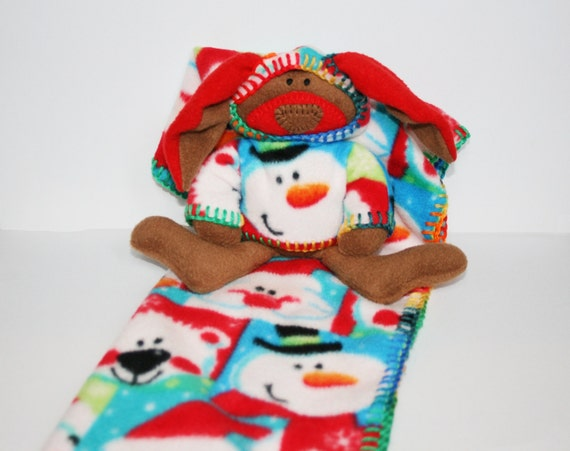 Ho Ho Ho Merry Christmas Security Blanket, Baby Blanket with Toy Bunny -  santa, frosty snowman, bear, red, green,ofg, canteam, waldorf