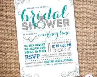 Bling Bridal Shower Invitation (Digital file)