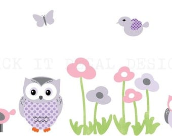 Owl Decal, Owl stickers, Nursery Wall Decal, Owl sticker, garden decal set with flowers, butterflies and birds, Whimsy Design