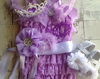Sofia The First 5 piece Princess lace petti romper set.