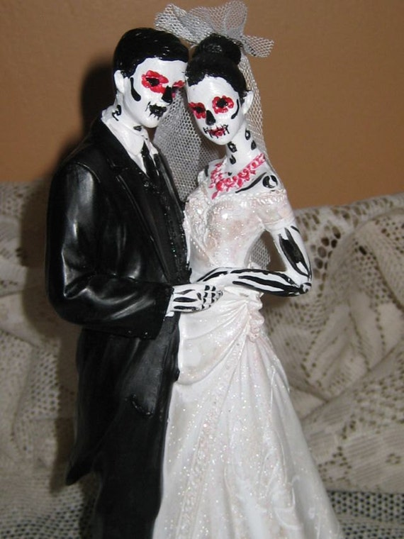 day of the dead wedding cake topper bride and groom day of the dead wedding cake topper skeleton sugar skull 13361