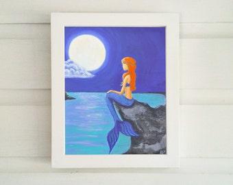 Mermaid Art Print - Mermaid Print - Mermaid Art - Red Haired Mermaid  - Mermaid Wall Art - Fantasy Art Print