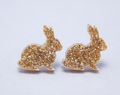 Gold Metallic Rabbit  Post Stud Earrings – Cute - Glitter - Gift