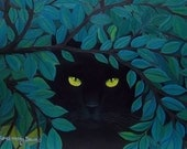 Garden Black Cat Oil Painting Rosemary Daunis Free Shipping in US