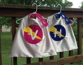 Personalized Superhero Cape with Mask, Reversible Lightening Bolt Kid's Cape, Choose any Custom Color Combination