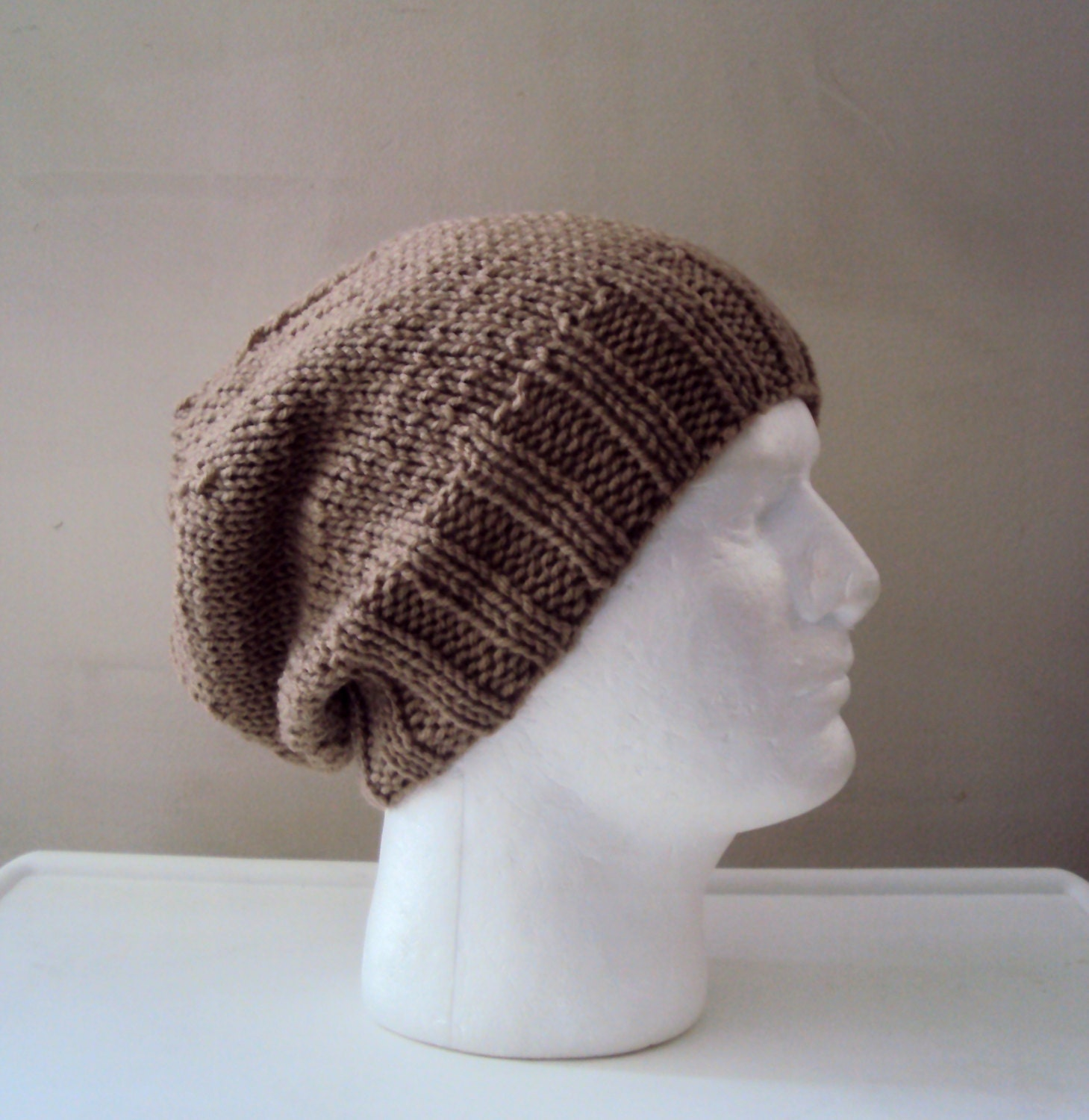 Mens Slouchy Beanie Knit Pattern : Mens Slouchy Knit Hat Celebrity Hat Ashton Kutcher Style