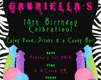 5x7 Candy Buffet Party for Girl Teens and Tweens