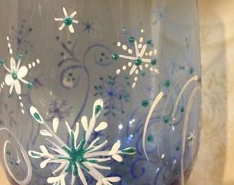 winter wine glass christmas gift swirling snowflakes wine glass, hand painted, glitter snowflakes wine glass, blue snowflake wine glass