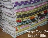 DESIGN YOUR OWN - Set of 4 Baby/Toddler Chenille Bibs - You Choose Your Fabric