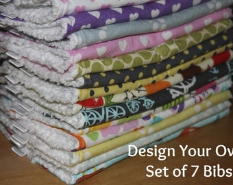 DESIGN YOUR OWN - Set of 7 Baby/Toddler Chenille Bibs - You Choose Your Fabric
