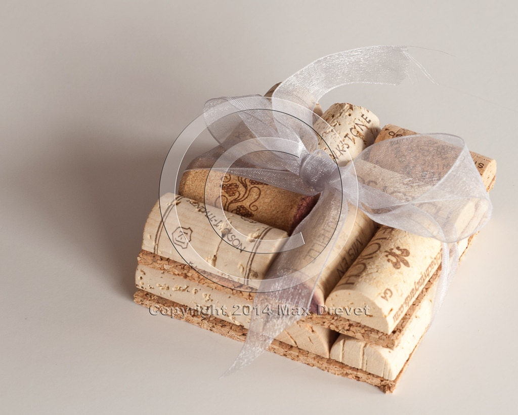Wine cork coaster set of two wine coaster unique wedding for Wine cork crafts for weddings
