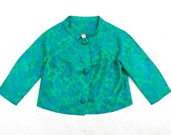 SALE vintage 50s boxy satin jacket • floral brocade short jacket M/L