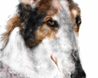 Borzoi, Custom Dog Pet Portrait, custom portrait, pet portrait, dog lover, dog art, pet memorial, dog memorial, artwork, wall art, art print