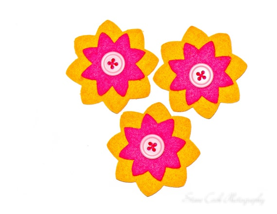 Stacked felt flowers hot pink fuschia orange purple buttons lot of 3 ...