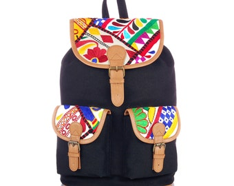 India Tapestry Backpack (Black)