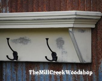 Entryway Shelf 36 Inches Coat Rack Shelf with Hooks