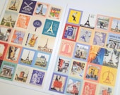 Paris, France Stickers -  Cute Retro Style Postage Stamps, 80 Pieces