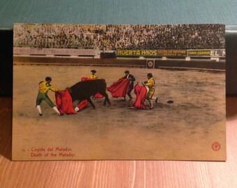 Vintage Postcard, Death of the Matador, Mexico, 1930s Paper Ephemera