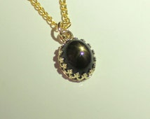 Natural Black Star Sapphire Pendant 14 K SOLID Yellow Gold / Black Star Sapphire Solid Gold Pendant