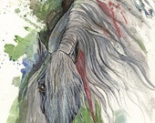 Grey andalusian horse original ink and watercolors painting on paper