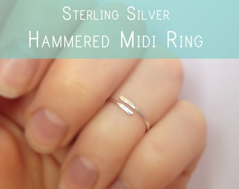 Hammered Silver Midi Ring - Sterling Silver Knuckle Ring -  Minimalist Silver Fingertip Ring - Gift for Her - Minimal Jewelry - Nail Art