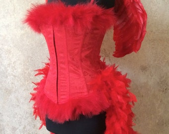 Red Angel Burlesque Feather Costume with Wings Carnival Bird Devil Parade Showgirl Stage Mardi Gras